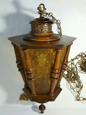 Vintage Wood + Glass Hanging Light - Lamppost/Lamp Post Head - Colonial Spindles