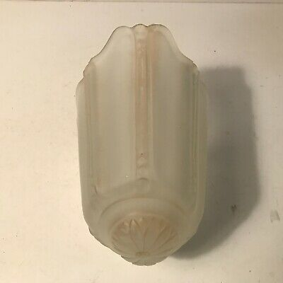Antique frosted glass slip shade for Art Deco light fixture wall sconce 3 of 4