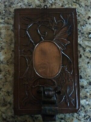 Mission Arts & Crafts Hammered Copper Wall Sconce w/Dragon Motif