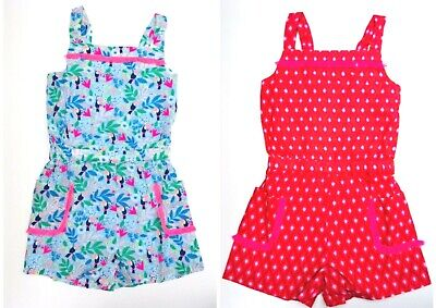 Girls Playsuit Printed Pocket Woven Blue Pink Ex Boden Age 2-16 Years RRP £28