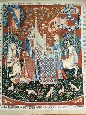 Large Tapestry. Medieval scene, Completed  Unicorns  Animals lions flora
