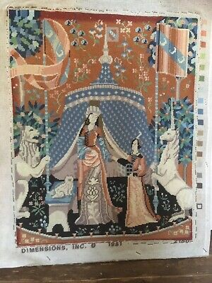 Completed Tapestry Large Medival scene wool 1981