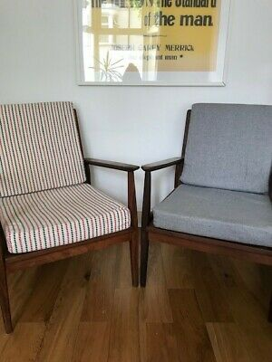 Pair Of Vintage Retro Mid Century Danish Style Lounge Arm Chair