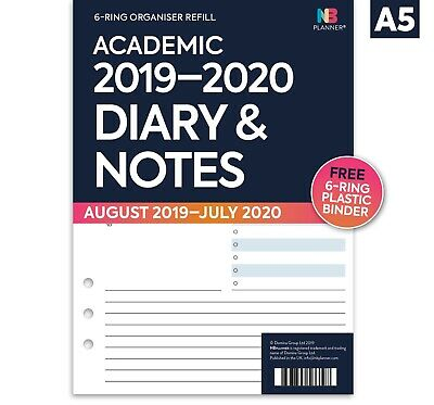 Academic 2019-2020 Diary & notes A5 organiser refill binder Filofax COMPATIBLE