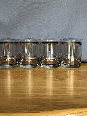Mid Century Culver 22K Gold Lowball Old Fashioned Whisky Glasses Barware Vintage