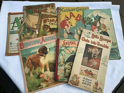Antiques Children Book Collection late 1800- early 1900's just found in attic