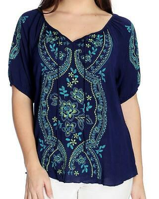 NEW - One World Woven Elbow Sleeve Embroidered Peasant Top