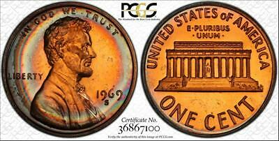 1969-S 1 Cents Lincoln Memorial Penny Bu Pcgs Pr67Rb Circle Toned Only 3 Higher!
