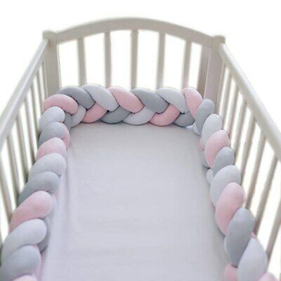 2M Knot Ball Infant Plush Crib Bumper Bed Crib Woven Protection Pillow Nordic UK