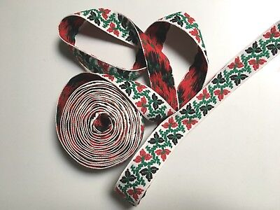 "Vintage Cotton Jacquard 1 1/5"" Wide Ribbon Edge Trim Red, Sold by the Yard"