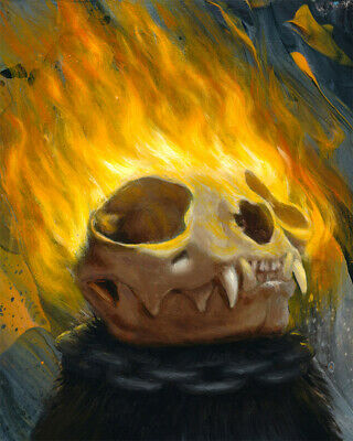 "ORIGINAL Ghost Rider cat oil painting FRAMED 8x10"" wood Black Cat Roomba Funny"