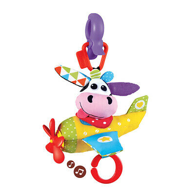 Battery-operated Musical Plane Tap and Play Toy Cow for Strollers Baby Carrier