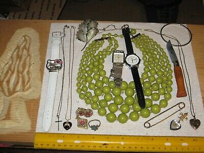 vintage junk drawer lot,jewelry,sterling,10K gold,Military pin,knife,watches,old