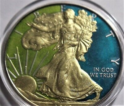 (Random year ) 1 Oz American Eagle Colorized  (Authentic) Coin .999 Silver