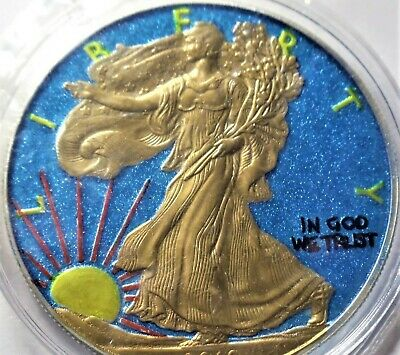 (Random year) 1 Oz American Eagle Colorized Authentic Silver Coin