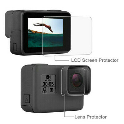 Tempered Glass Screen Protector Set for Black Go Pro Hero 7 6 5 Lens Camera LCD