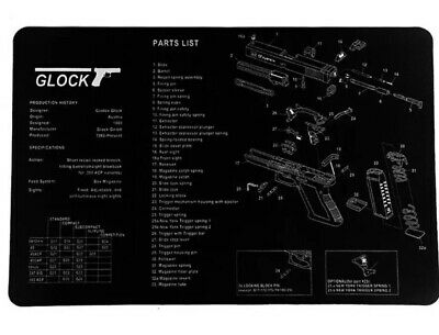 FOR GLOCK Armorers Rubber Gun Cleaning Bench Mat Exploded View Schematic  Bench