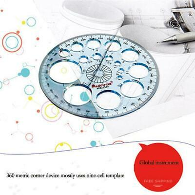 360 Degree Plastic Full Circle Protractor Angle Finder Measuring Ruler Template