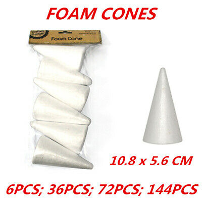 Styrofoam Cones Craft Polystyrene Shape Form Foam Decorating Modelling Art 6Pack