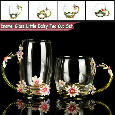 4Pcs Enamel Glass Rose Flower Tea Cup Set Spoon Coffee Cup Kit Mothers Day