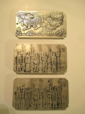 3-Antique Silver Asian / Chinese Dragon & Wisemen  Relief Stamped Plaque's