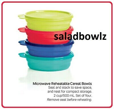 TUPPERWARE New MICROWAVE REHEATABLE CEREAL BOWLS w/Seals! Set of 4 BPA Free