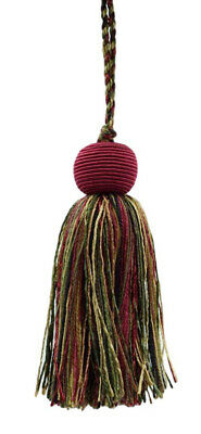 "Set of 10 Cherry Red, Olive Green, Yellow Gold, Black 4"" Small Tassel Evergreen"