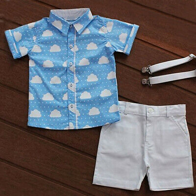 US Cute Infant Toddler Kids Baby Boy Summer T-shirt Tops+Shorts Outfits Clothes