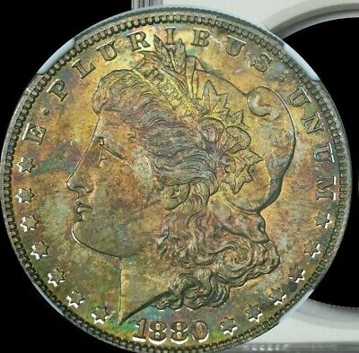 1880-S Morgan Silver Dollar NGC MS66 Orange/Turquoise/Gold Toned