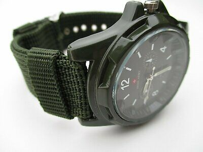 Herren Military Army Analog Quarz Armbanduhr Uhr Fabric Strap Watch