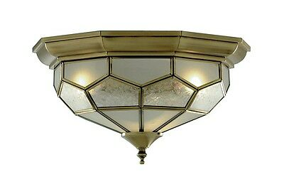 Traditional Antique Brass Flush Ceiling Light With Frosted Glass Panels