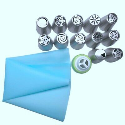 1X(14Pc/Set Russian Tulip Icing Piping Nozzles Stainless Steel Flower CreamQ4P8)
