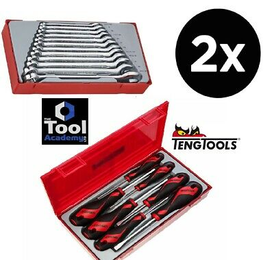 Teng Tools 7 Pce Screwdriver Set AND Teng 12pce Combination Spanner Wrench Set