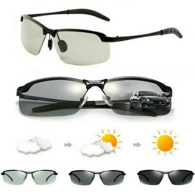 Men's Photochromic Polarized Sunglasses UV400 Transition Lens Driving Glasses