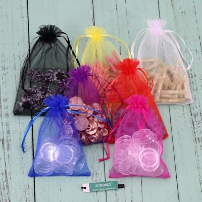 100x Luxury Organza Gift Bags Wedding Party Favour Jewellery Packing Pouches Bag