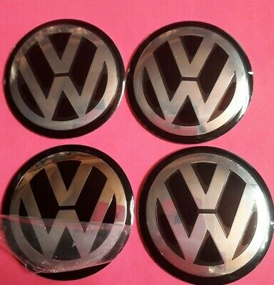 4 X 60mm VW BLACK overlays/stickers/emblems ALUMINIUM EMBOSSED LOGO