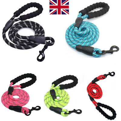 5ft Reflective Dog Lead Rope Strong Soft Leash Braided Leads Padded Handle 1.5M