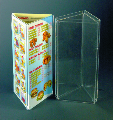 Acrylic Table Poster Holder. Triangle Leaflet Holder.Acrylic POS.Counter Display