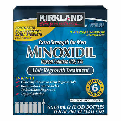 Kirkland 5% Extra Strength for Men Minoxidil Hair Regrowth 6 Month Supply