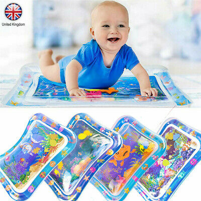 "Inflatable Water Play Mat for Infants Baby Toddlers Kid Tummy Time 26""x20"" UK"