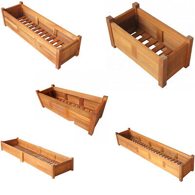 Acacia Wood Outdoor Planter Wooden Garden Flowers Container Plant Display 5-Size