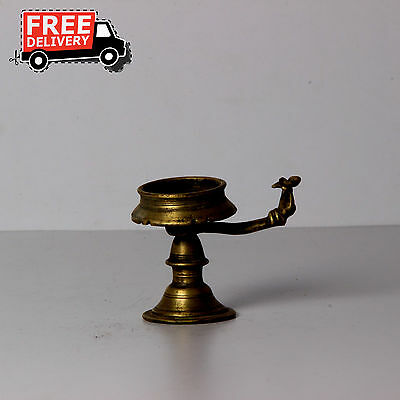 1850'S Indian Antique Hand Crafted Engreved Brass Pooja Worship Diya Lamp 1576