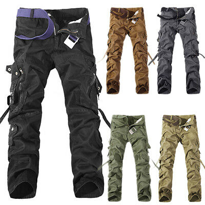 Mens Cargo Army Military Trousers Loose Combat Pockets Outwear Long Casual Pants