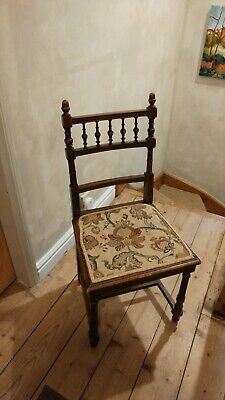Edwardian Victorian Antique Chair Wood Tapestry Woven Seat Occasional
