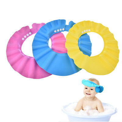 soft baby kids children shampoo bath bathing shower cap hat wash hair shield~JP