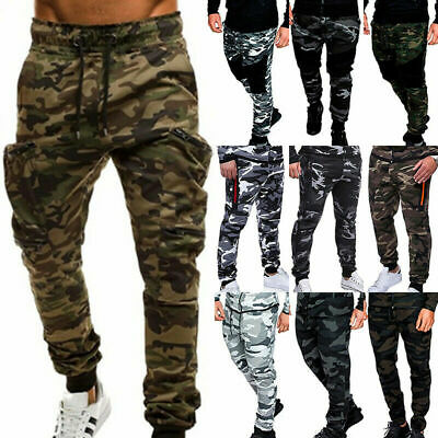 Men Military Army Camo Cargo Combat Trousers Joggers Gym Sport Track Sweat Pants