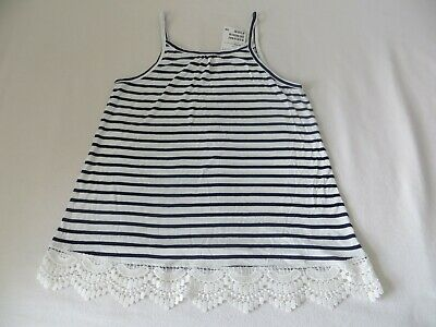 BNWT Girls H&M Navy Blue & Ivory Striped Sleeveless Lace Detail Top Age 10-12 yr