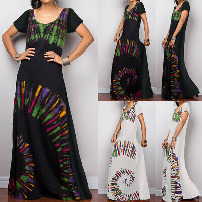 Plus Size Women Summer Casual Long Dress Maxi Ladies Flare Loose Floral Sundress
