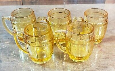 5 Vtg Amber Gold Hazel-Atlas Mini Beer Barrel Jigger Mugs Shot Glass Toothpicks