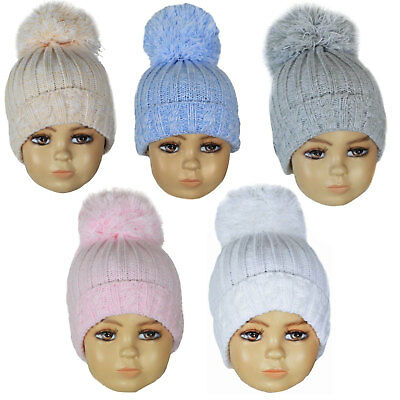 Baby Boys Girls Knitted Pom Pom Hat Winter Hat 0-12 Months H480